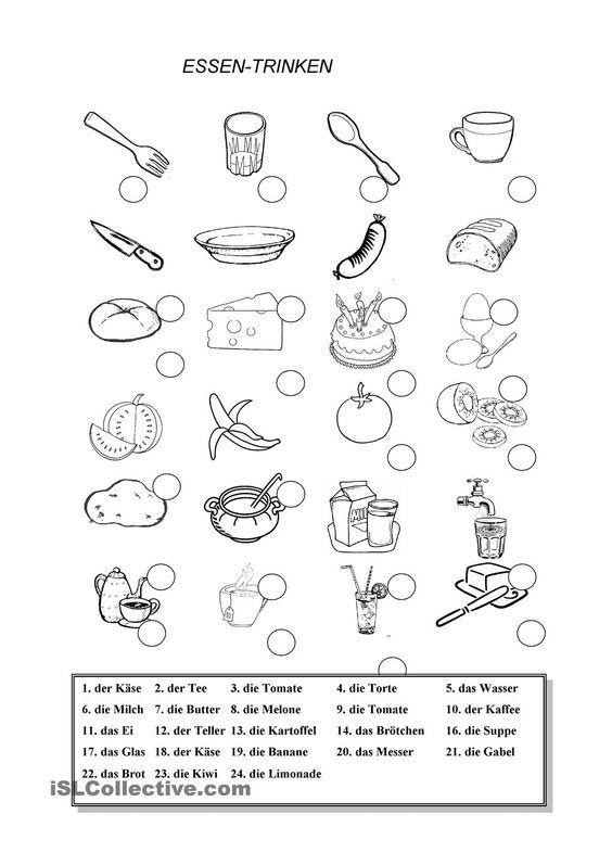 ESSEN- TRINKEN | Frei DAF worksheets: | essen und trinken | Pinterest