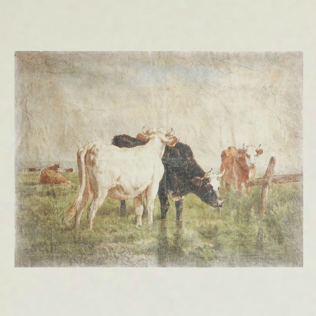 Retro Cows Wall Hanging Cow Pictures Cow Art Painting Prints
