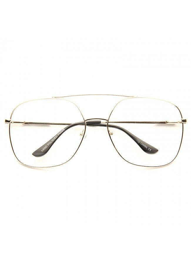 f1a5a2601 Clear Aviator Glasses | Diaz Oversized Metal Clear Aviator Glasses |  BleuDame.com