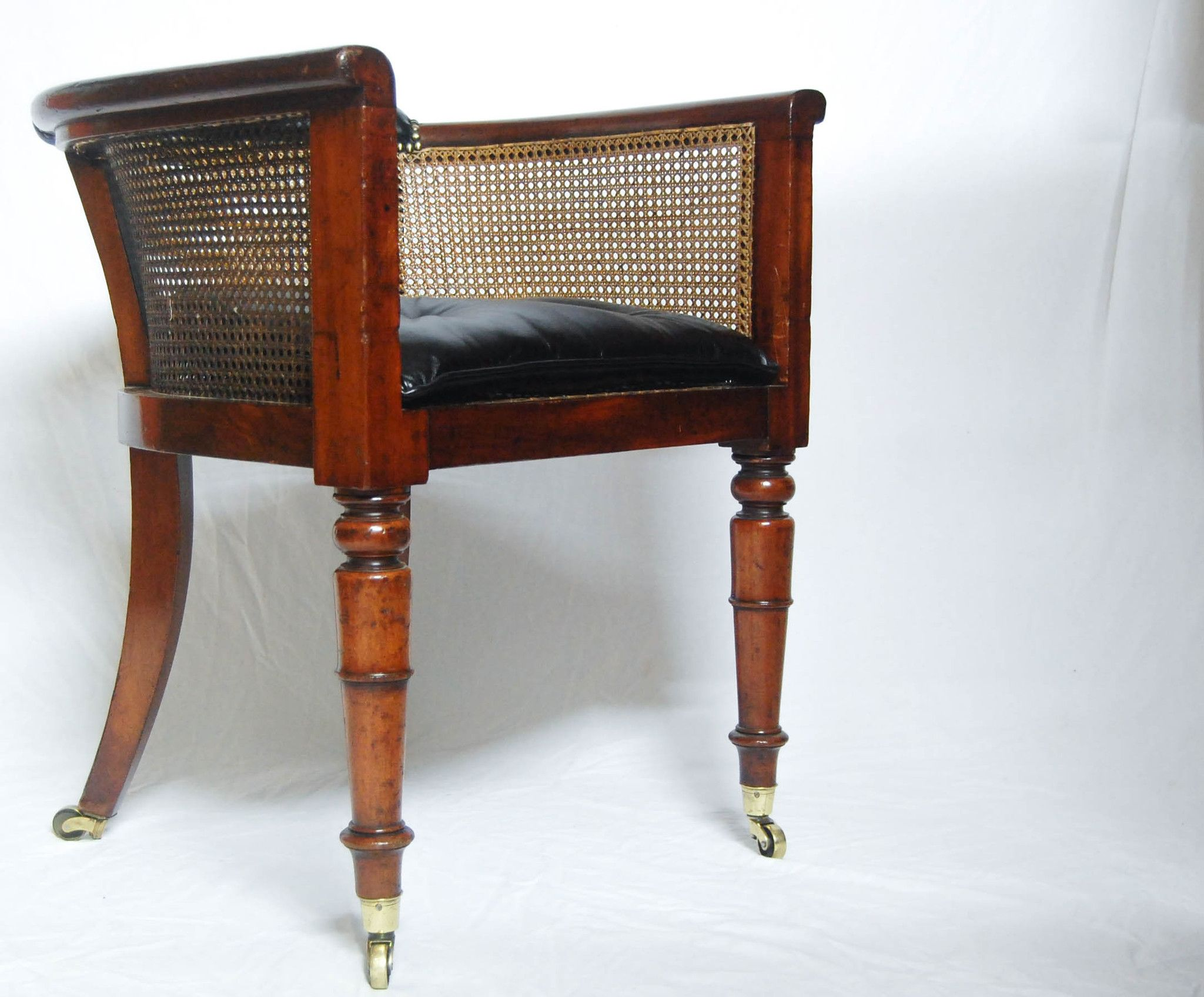 Regency Mahogany Caned Library Tub Chair or Desk Chair by Miles