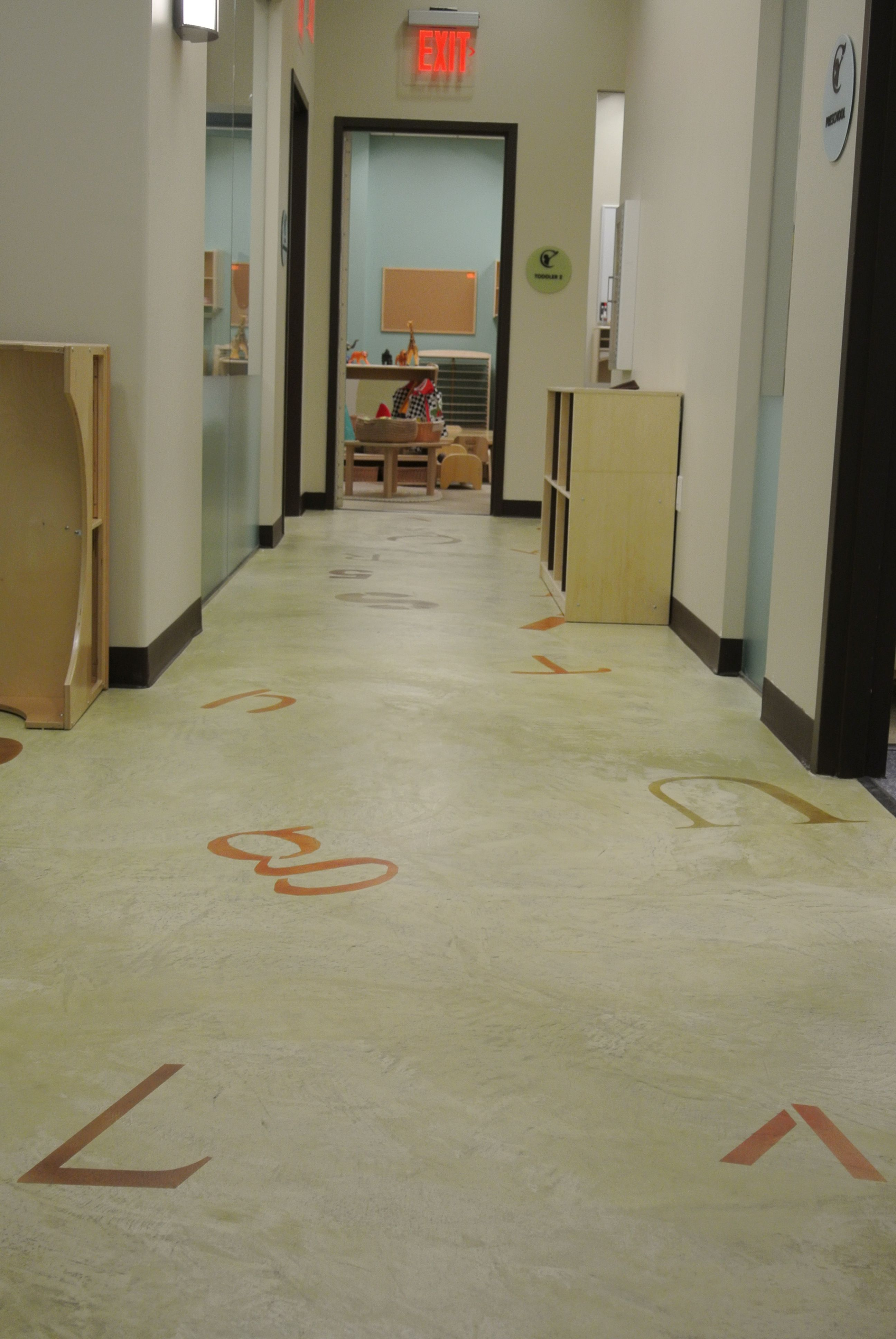 Duraamen Cementitious Floors With Stenciled Alphabet Letters In A Nyc Child Care Center