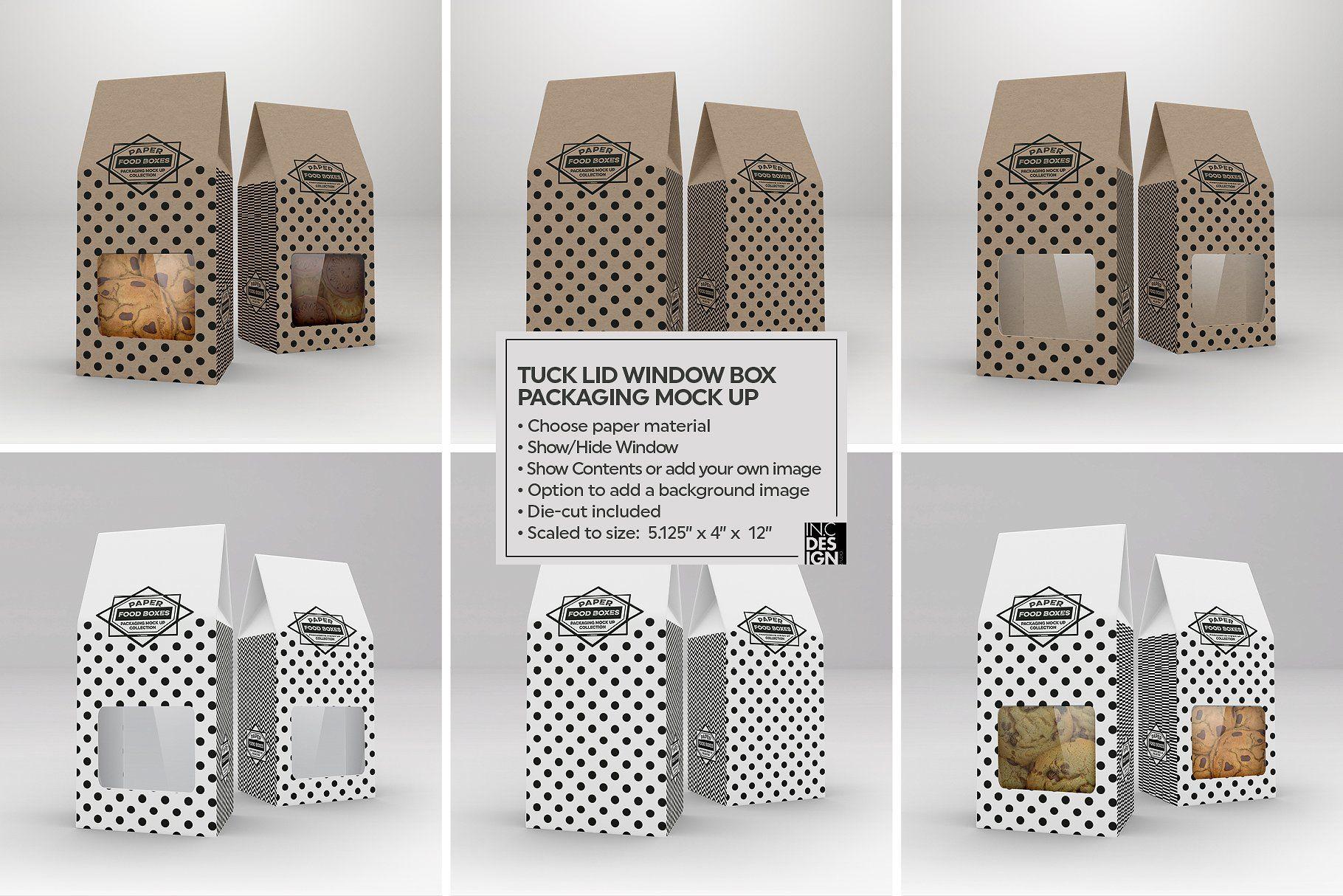 Download Tuck Lid Window Box Mockup Food Box Packaging Box Mockup Packaging Mockup