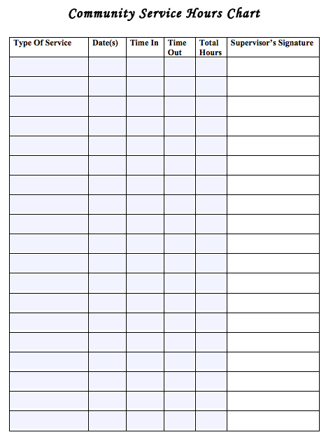 Generic Community Service Log Sheet Useful For Earning