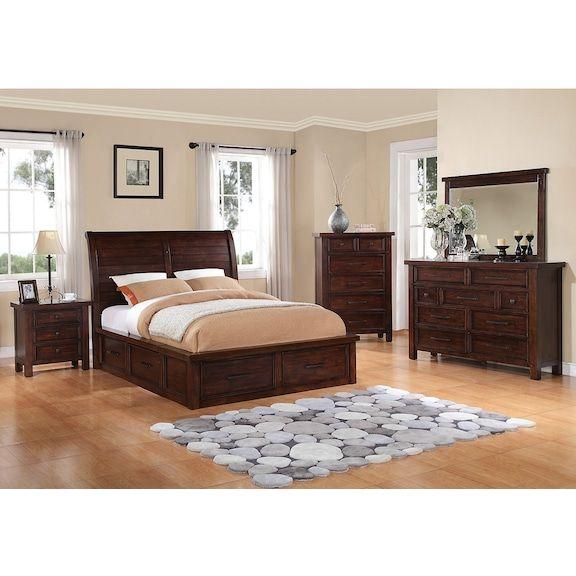 Sonoma 7-Piece Queen Storage Bedroom Set - Dark Brown in 2018
