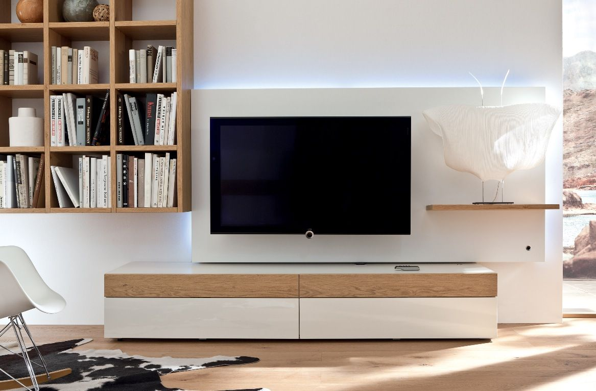 3e251638c94 White and Wood Modern Media Unit   Bookshelf with recessed lighting and  backing board to hide cables
