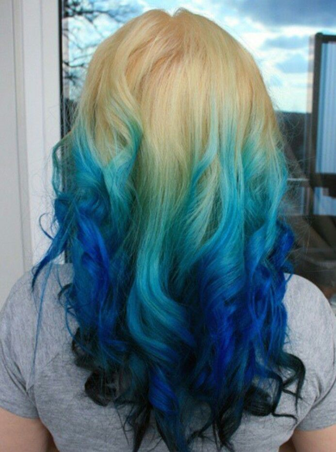 Blonde Turquoise Navy Blue Ombre Dip Dyed Hair Blue Hair Hair