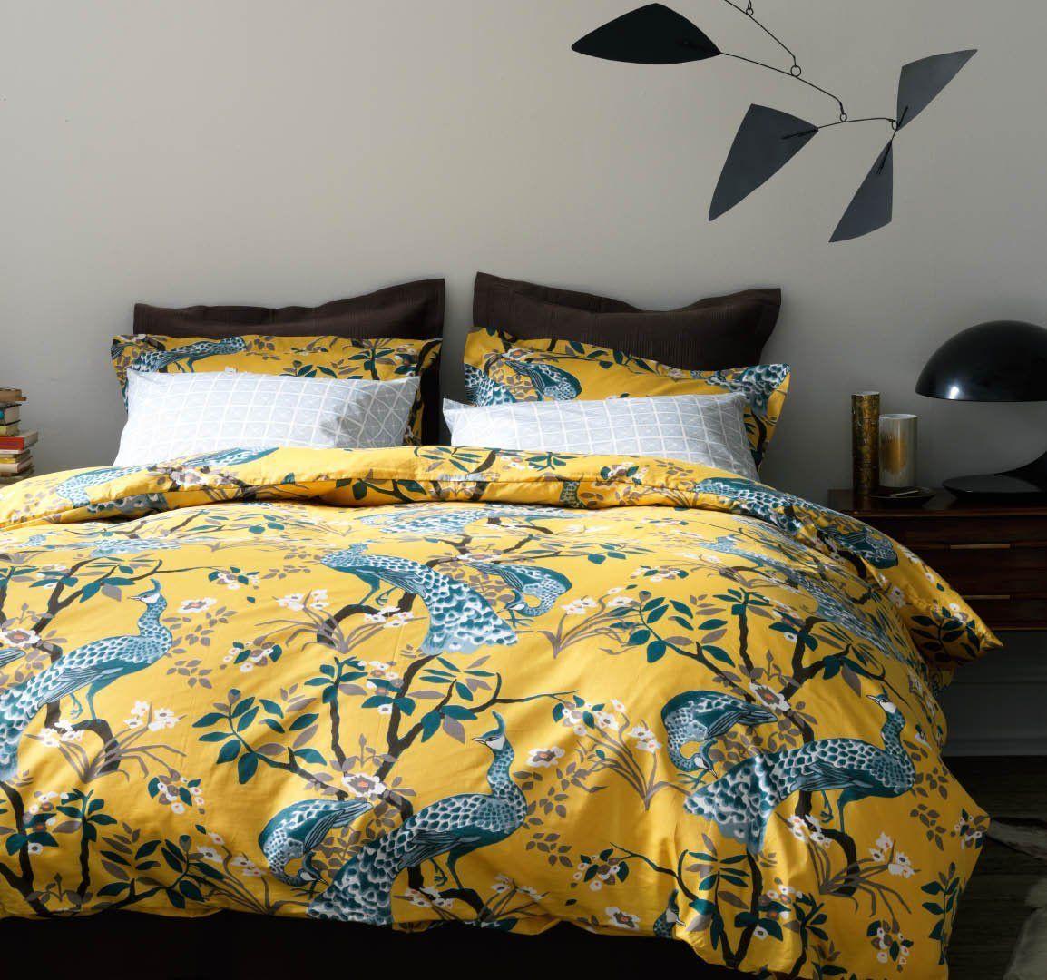 dwellstudio peacock duvet set yellow and peacock blue bedding  - dwellstudio peacock duvet set yellow and peacock blue bedding