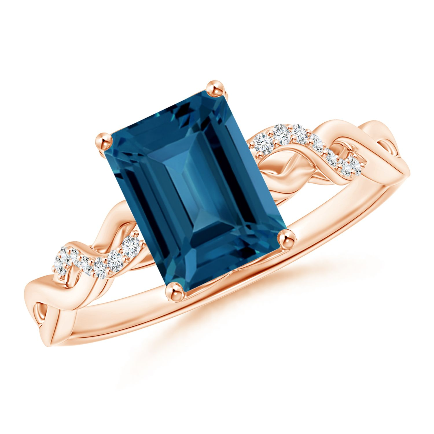 Angara Cushion London Blue Topaz Ring in Platinum LUZXdk