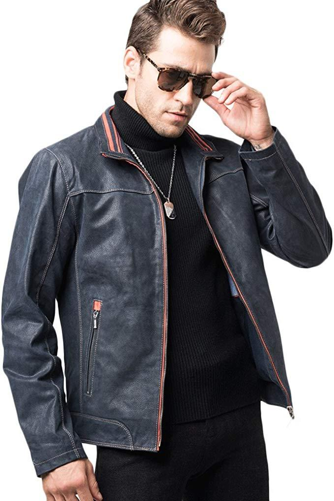 Mens Stylish Real Leather Biker Jacket in 2020 Leather