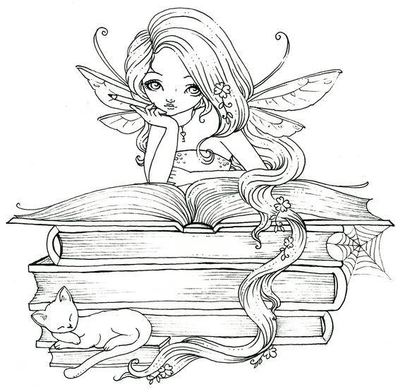 Фея читает книгу с заклинаниями и рядом спит котик ...