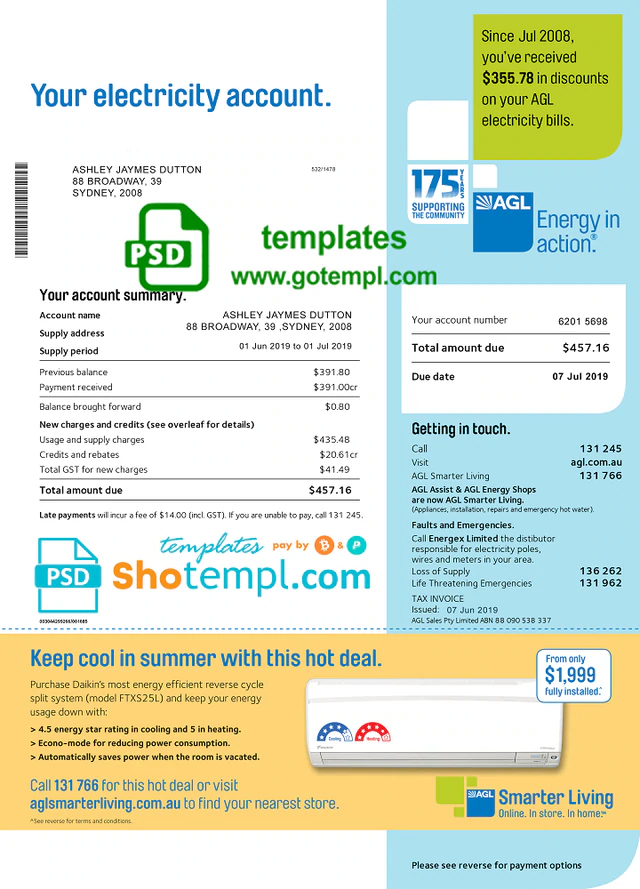 Australia Agl Electricity Utility Bill Template Fully Editable In Psd Format Bill Template Agl Utility Bill