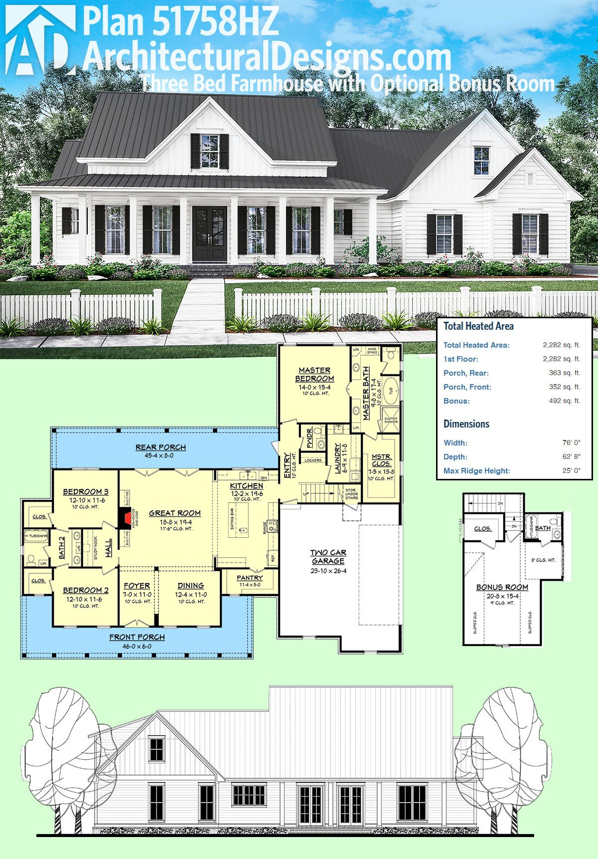 Plan 51758HZ Three Bed Farmhouse with Optional Bonus Room
