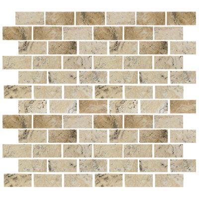 Florida Tile Pietra Art Travertine Mosaic 1 X 2 Pico Backsplsh