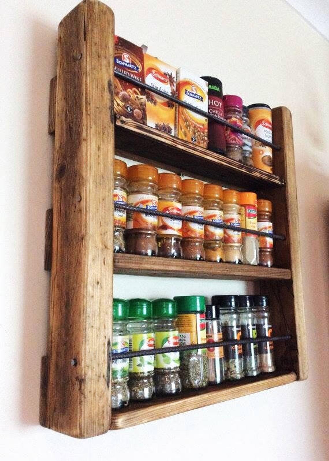 Spice Rack Wooden Spicerack Kitchen Storage Rustic Spice
