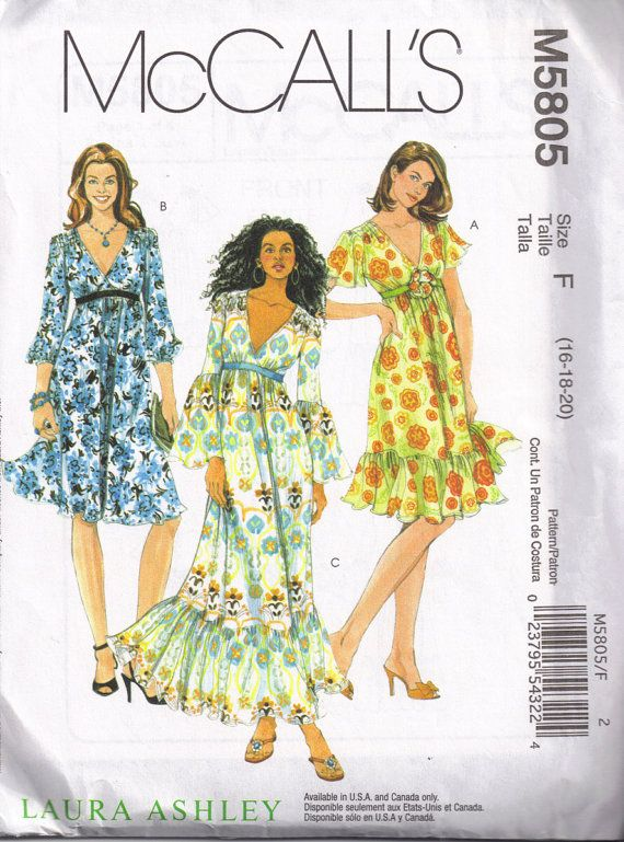 287516b76b6cb2 V Neckline Maxi Peasant Hippy Style Dress Mccalls 5805 Sewing Pattern Plus  Size 16, 18, 20 Bust 38, 40, 42