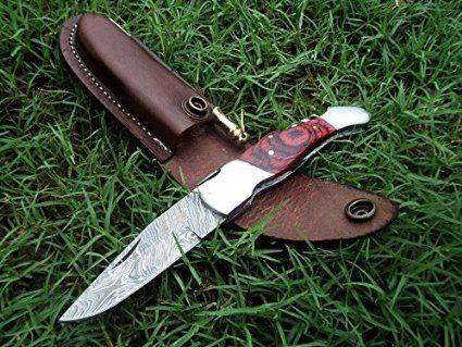 "DKC-775 GLEN ELLEN Laguiole Damascus Steel Folding Pocket Knife Rose Wood 3.8 oz 7"" long 4"" Blade DKC KNIVES"