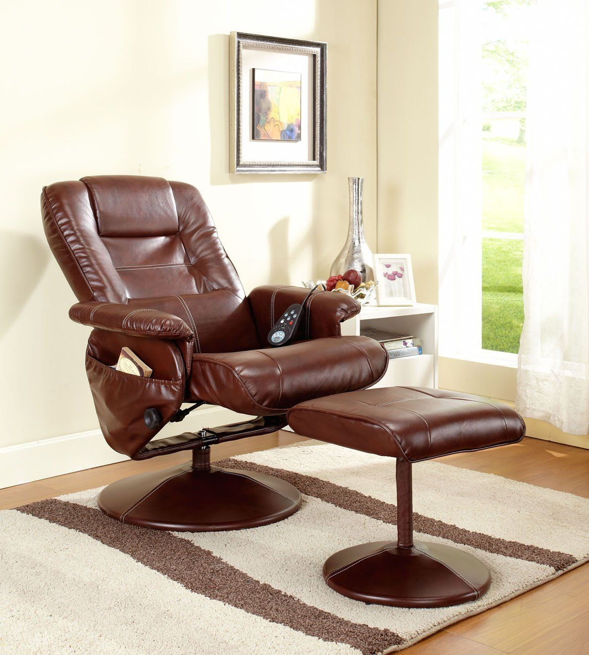 Kings brand massage leather recliner swivel chairs
