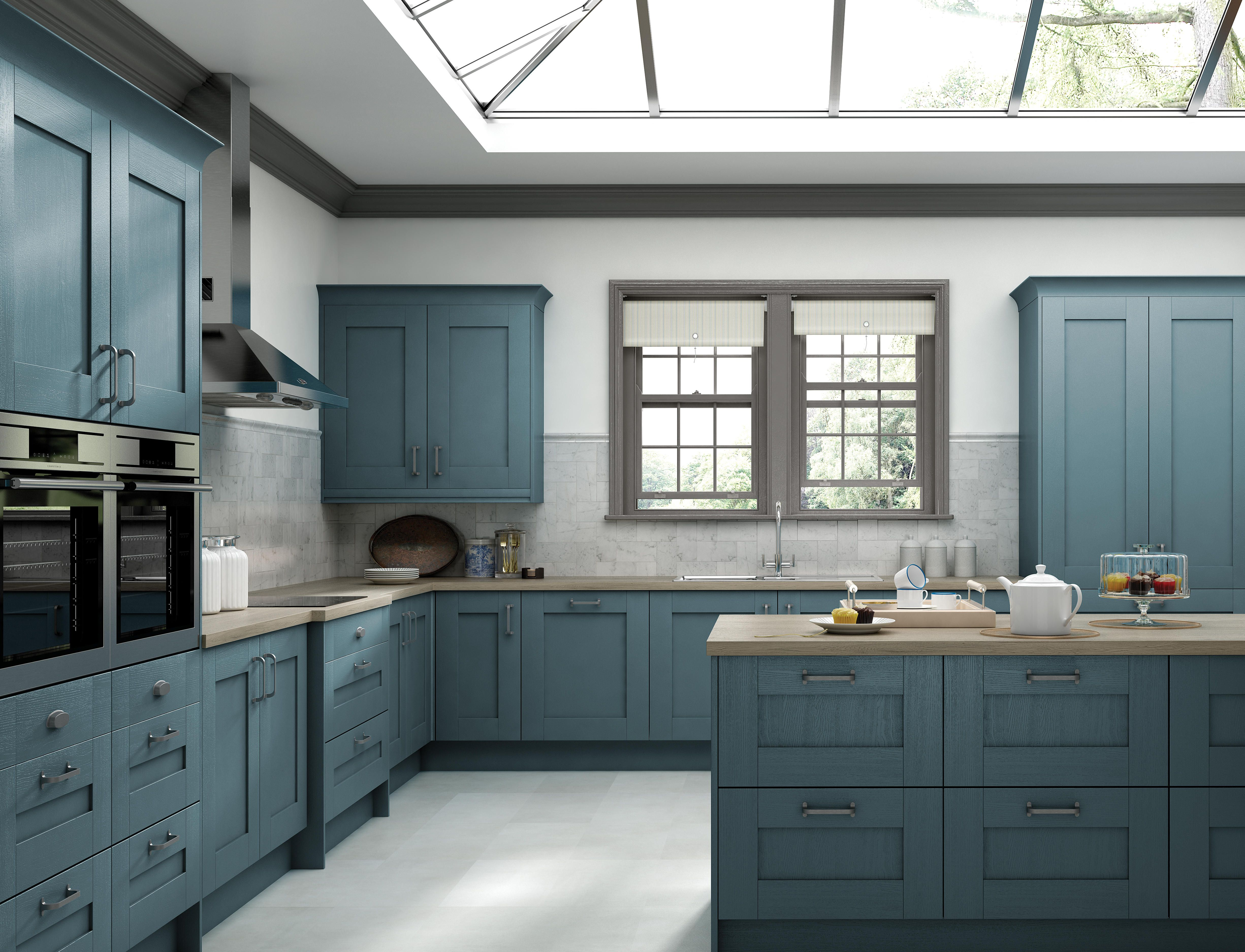 The Kensington kitchen in \'Blue\'. This range is available in eight ...