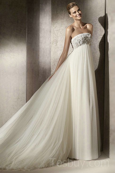 Empire Strapless Tulle Maternity Wedding Dress With Removable Train ...