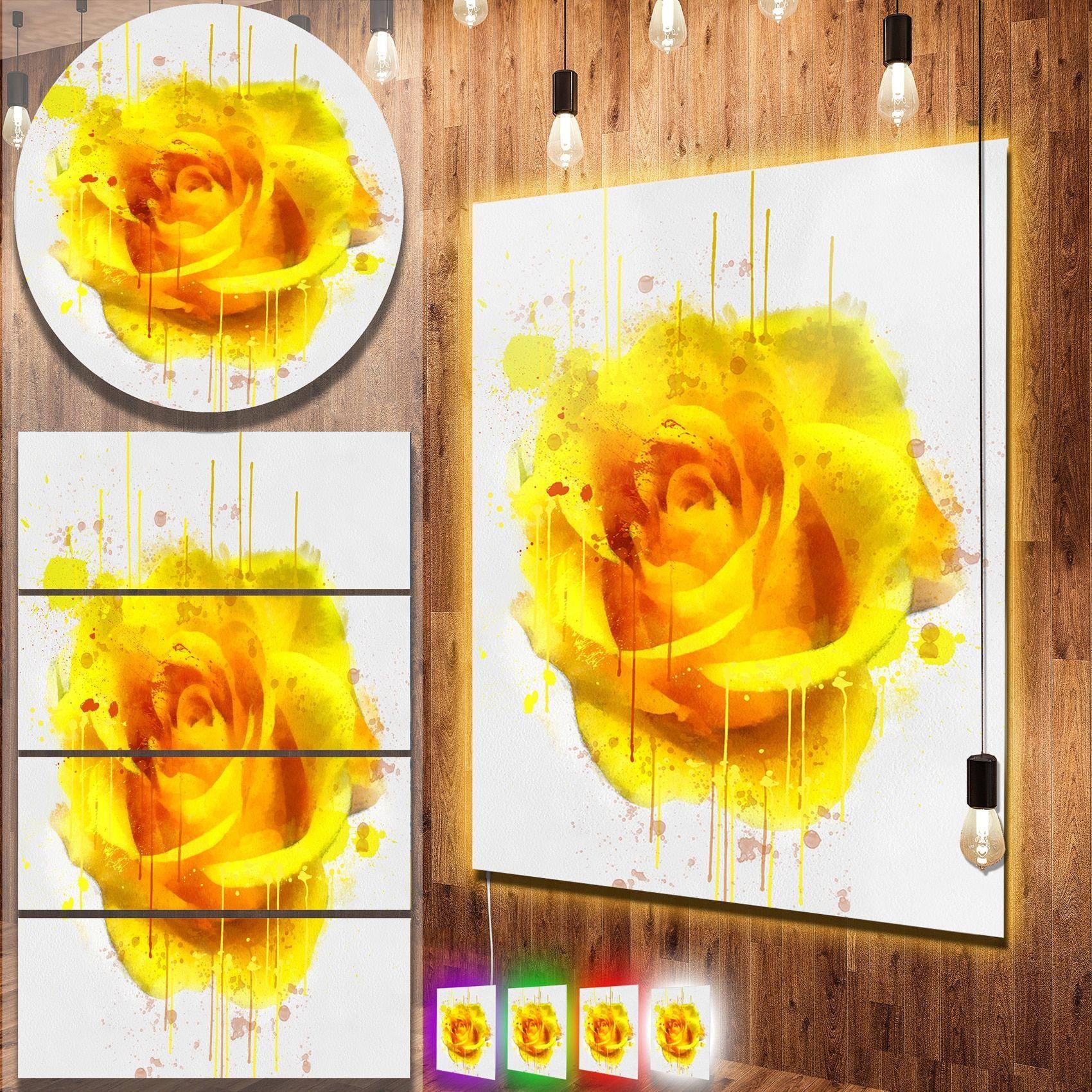 Designart \'en Yellow Abstract Fractal Design\' Abstract Metal Wall ...