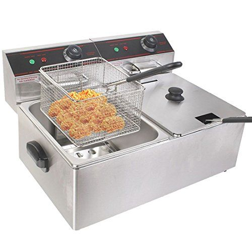 New 5000w Electric Countertop Deep Fryer Dual Tank Commercial