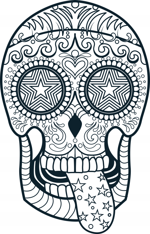 Mexican Skull Coloring Pages | Day Coloring Pages, Holidays Coloring ...