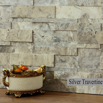 3D Stone backsplash, silver travertine Stone wall