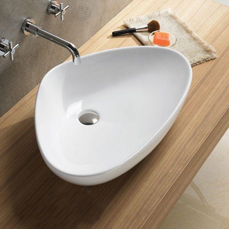 grande vasque triangulaire 67x42x15 cm young poser sur un plan ou un meuble vasque - Grande Vasque A Poser