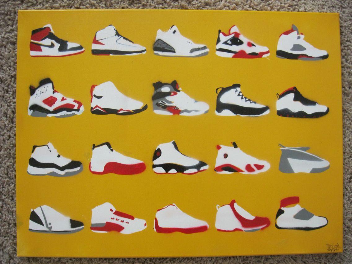 Jordan shoes stencil art   Stencil art, Art, Jordans