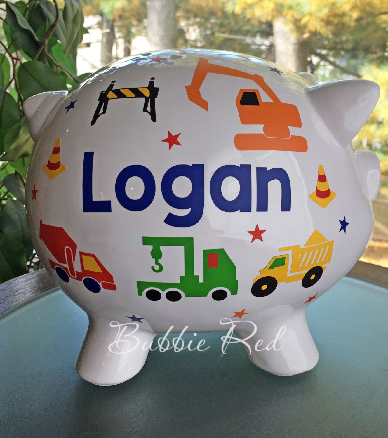 Personalized Piggy Bank For Baby Boys Construction Vehicles Etsy Personalized Piggy Bank Toddler Boy Birthday Personalized Baby Boy Gifts