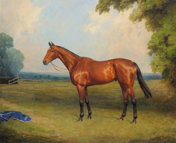 The Racehorse Golden Miller Standing in a Paddock at Exning, Newmarket by Thomas Percy Earl (1874-1947)