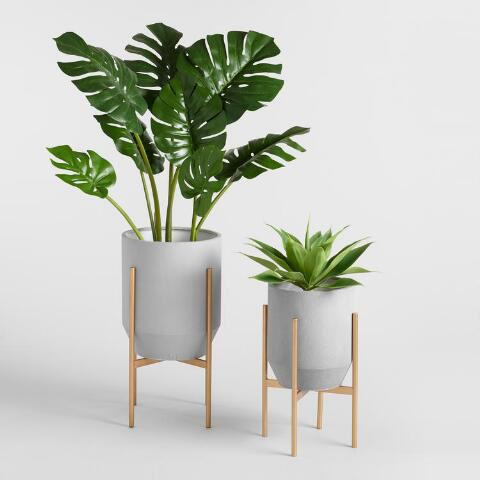 Tapered Dove Gray Planter With Gold Stand World Market Tropical Home Decor Plant Decor Indoor Plant Decor