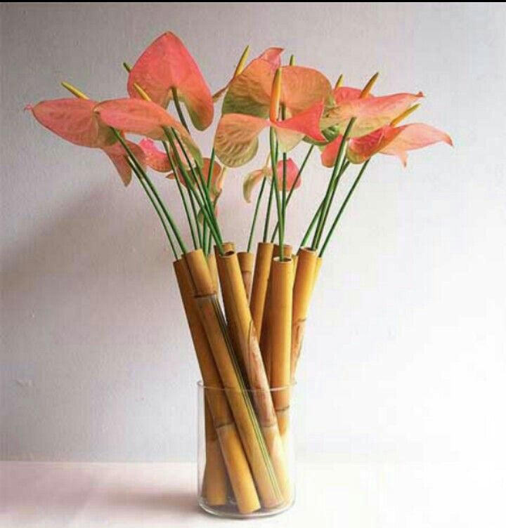 One For My House The Bamboo Sticks The Vase The Artificial Flowers Tropical Flower Arrangements Ikebana Flower Arrangement Tropical Floral Arrangements
