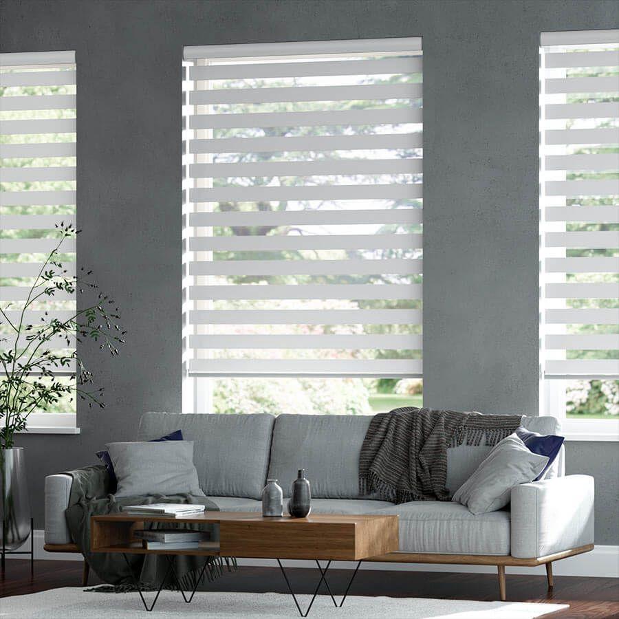 Premier Zebra Light Filtering Dual Roller Shades Selectblinds Com Large Windows Living Room Living Room Windows Living Room Modern