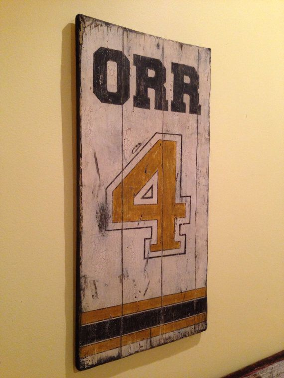 Boston bruins bobby orr number 4 jersey by Bruins room decor