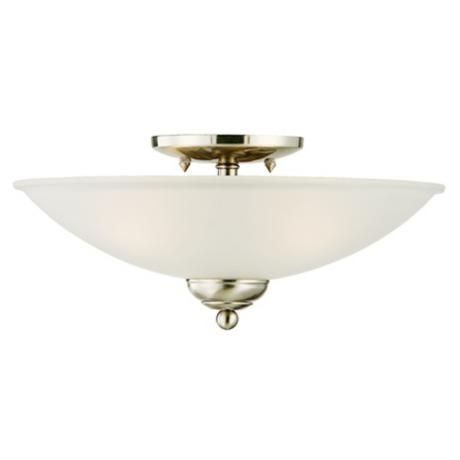 San Dimas Collection Brushed Steel Wide Ceiling Light - Brushed steel kitchen ceiling lights
