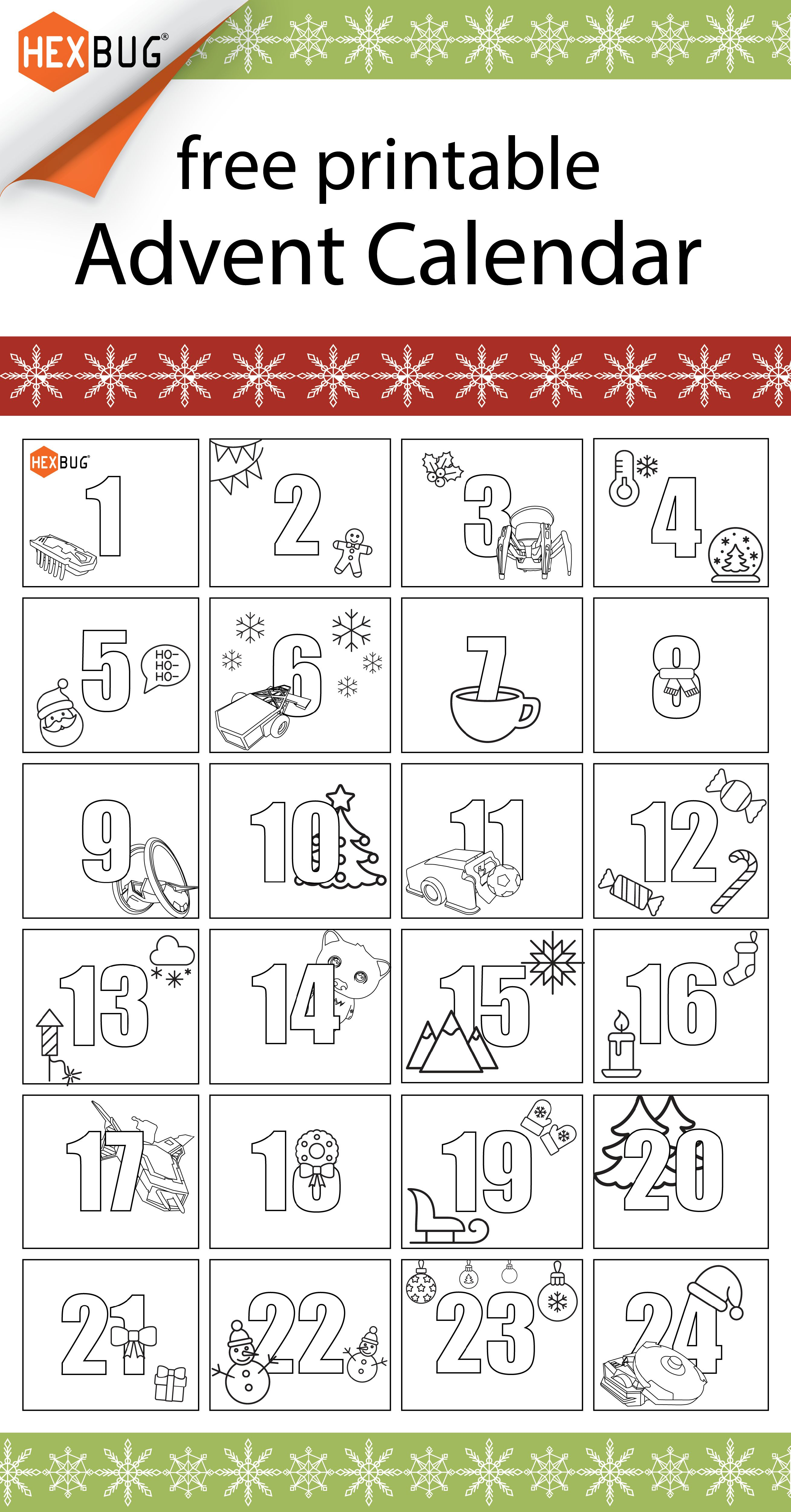 Hexbug Free Printable Holiday Advent Calendar