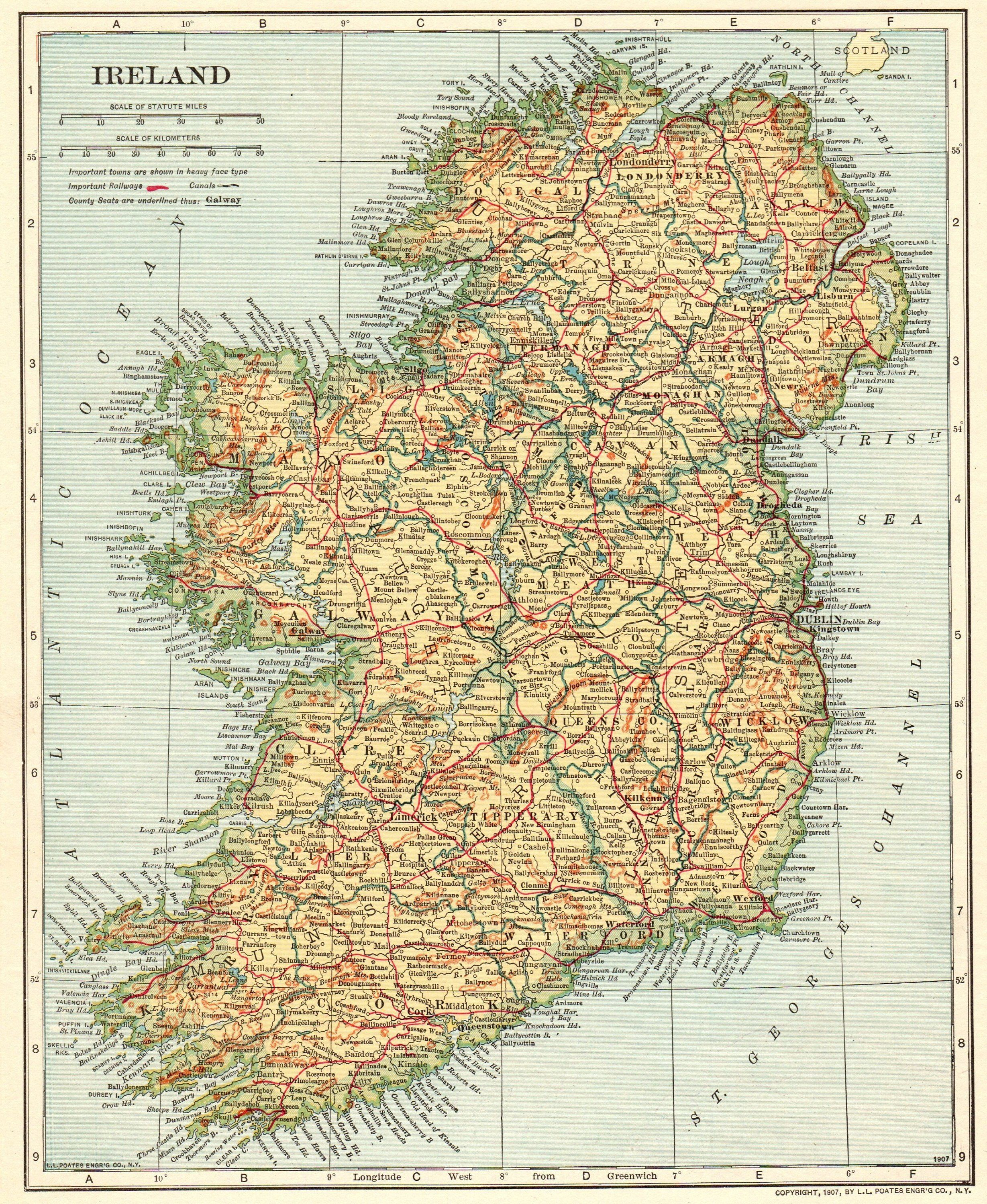 World Map Of Ireland.1925 Antique Ireland Map Vintage Map Of Ireland Gallery Wall Library