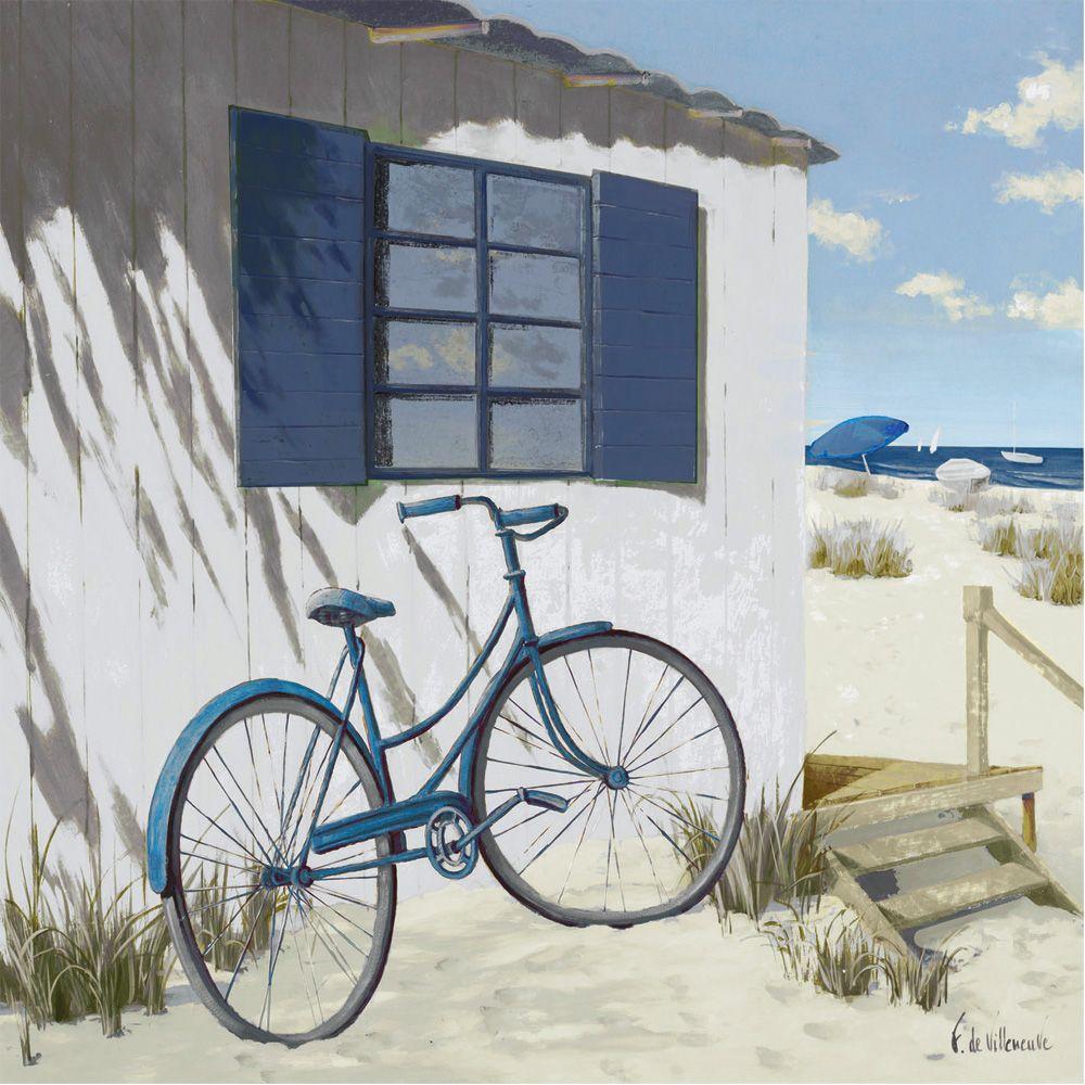 reproduction sur toile bord de mer en bicyclette a. Black Bedroom Furniture Sets. Home Design Ideas