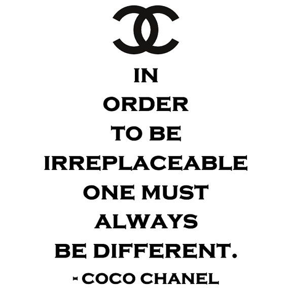 Chanel Quotes Irreplaceable Be Different Coco Chanel Vinyl Wall Quote Decal