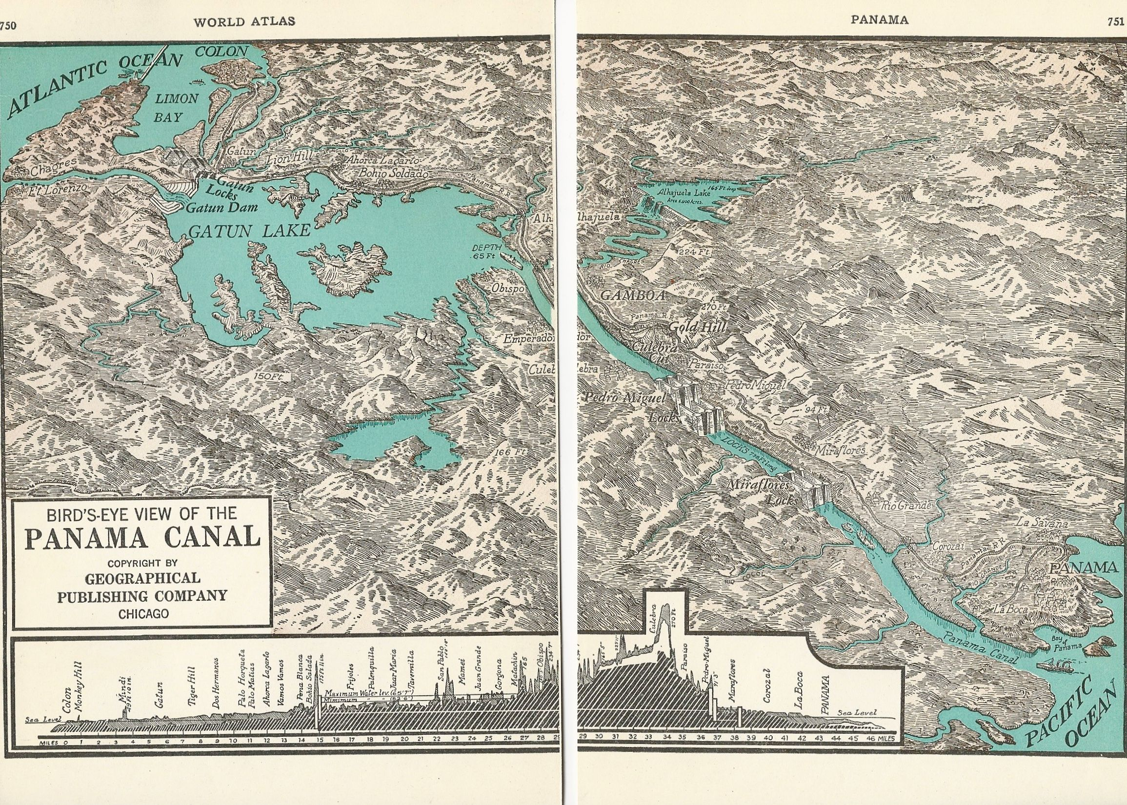 1937 map of a birds eye view of the panama canal from world atlas 1937 map of a birds eye view of the panama canal from world atlas gumiabroncs Images