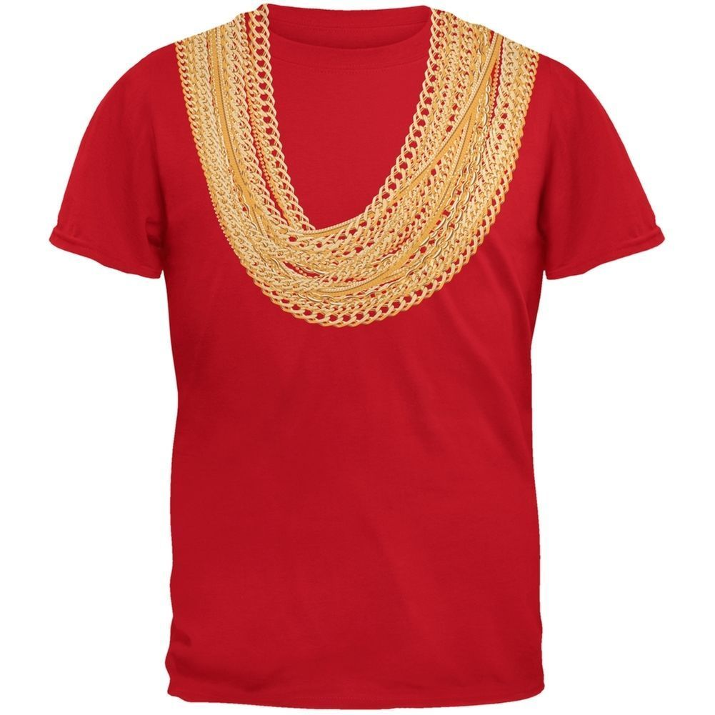 Gold Chains Black Adult T-Shirt