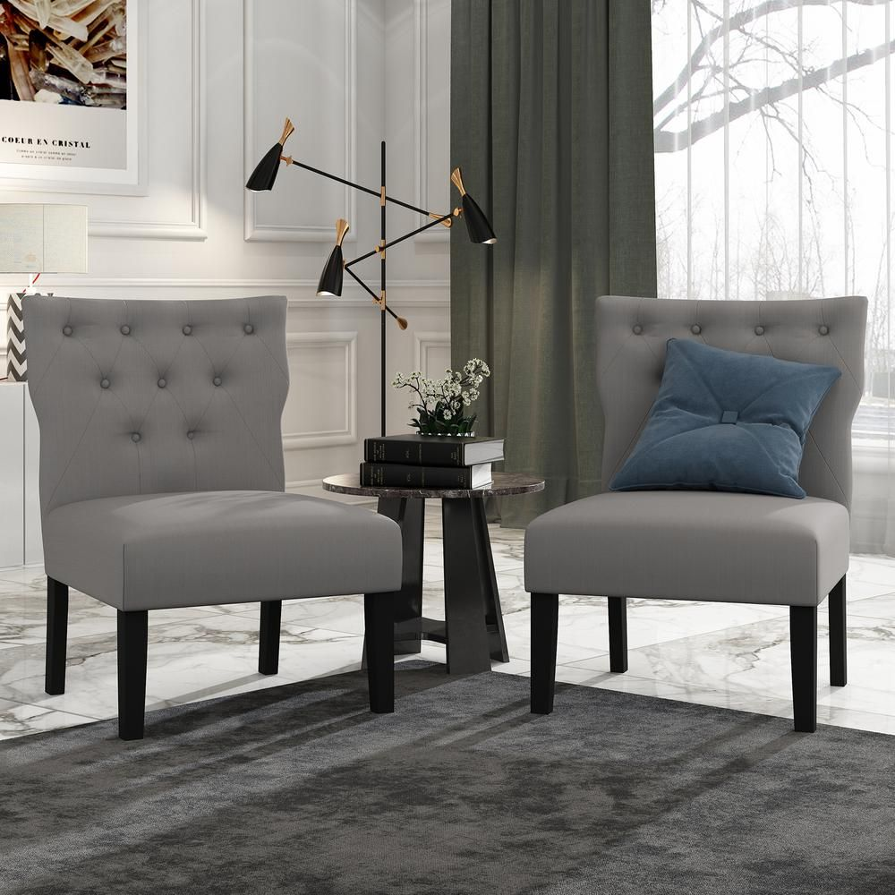 Best Furinno Belfort Grey Polyester Button Tufted Back Accent 640 x 480