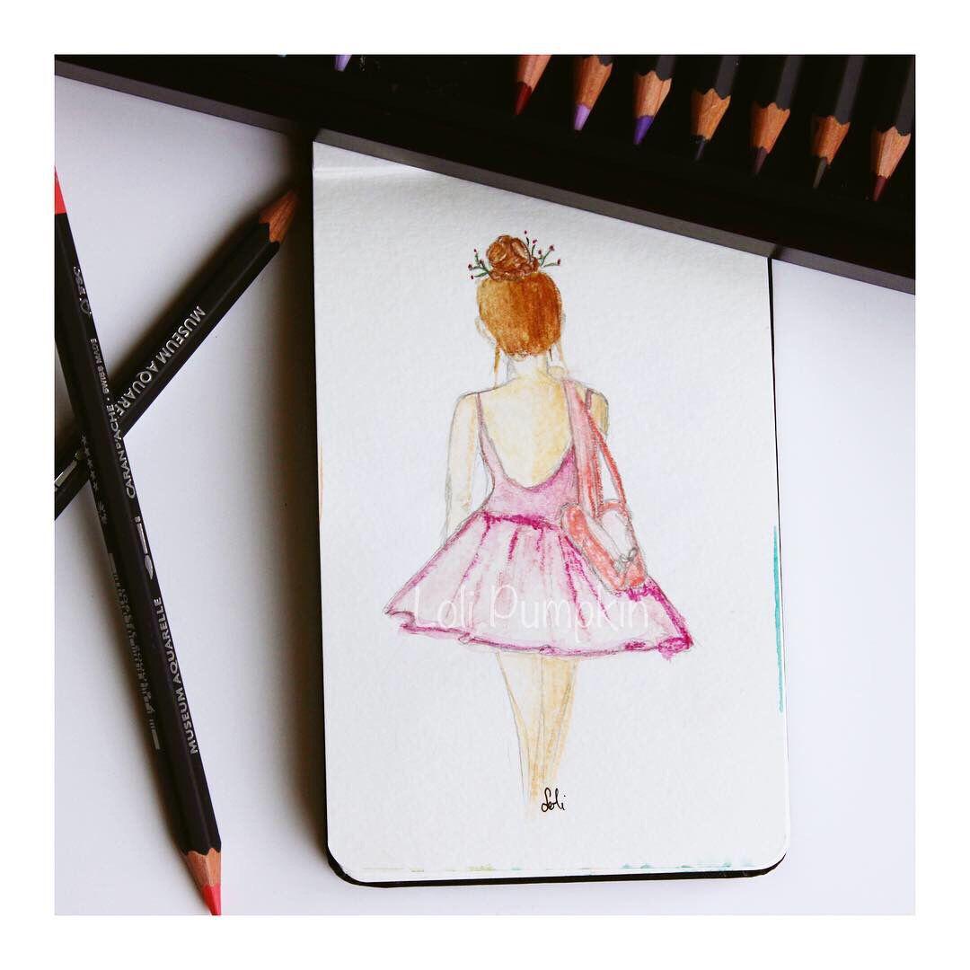 Danseuse Dessinee Aux Crayons Aquarellables Realise Par Loli