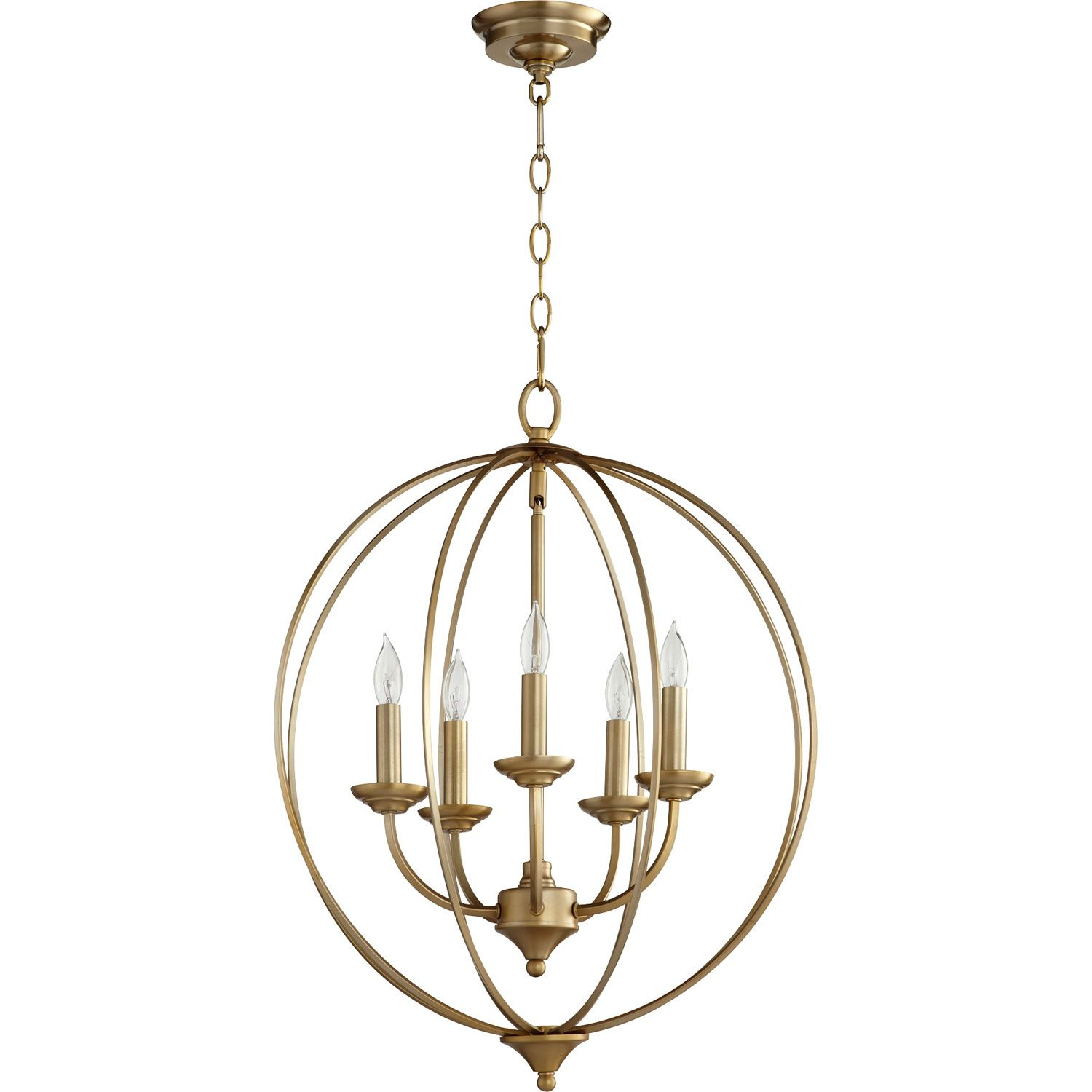 Quorum International Flora Aged Brass Five Light 19 Inch