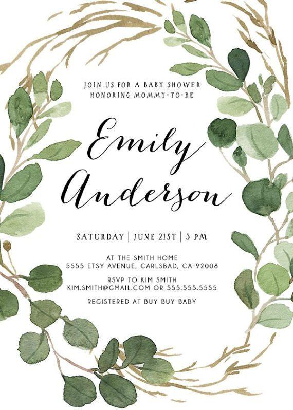 Baby Shower Invitation Gender Neutral Eucalyptus Watercolor