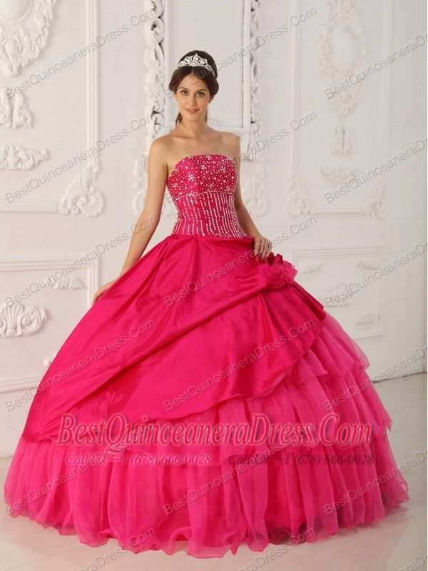 452b12d2a07 Home    Elegant Quinceanera Dresses    Hot Pink Ball Gown Strapless ...