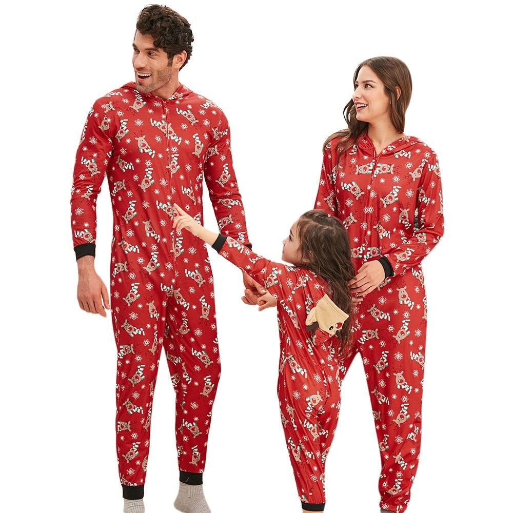 Family Christmas Elk Hooded Jumpsuit Pajama Red