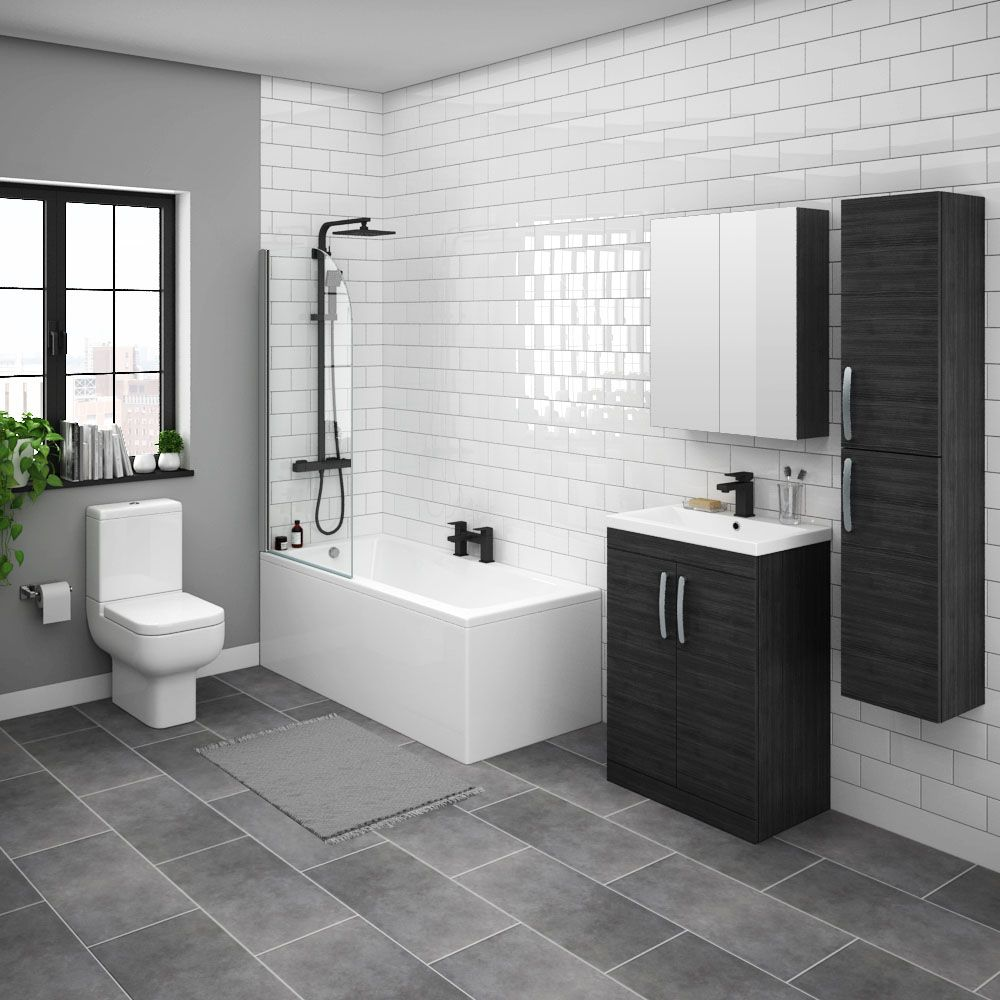 Brooklyn Hacienda Black Bathroom Suite With Tall Cabinet Victorian Plumbing Uk Black Bathroom L Shaped Bath Bathroom Suite