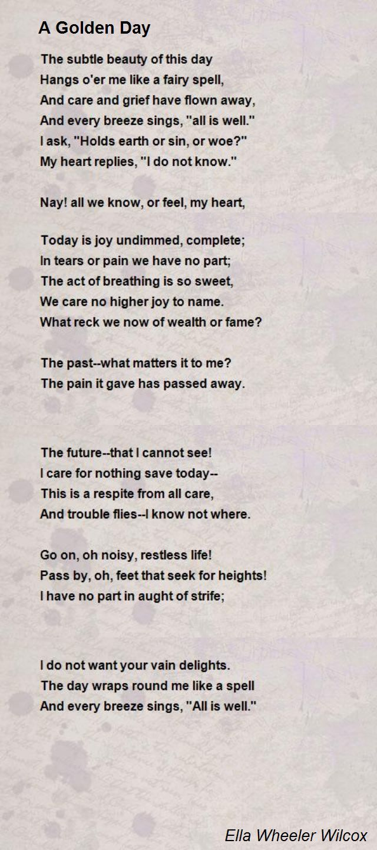 A Golden Day Poem By Ella Wheeler Wilcox Hunter William Blake Wordsworth Poems Interpretation Of I Wandered Lonely Cloud